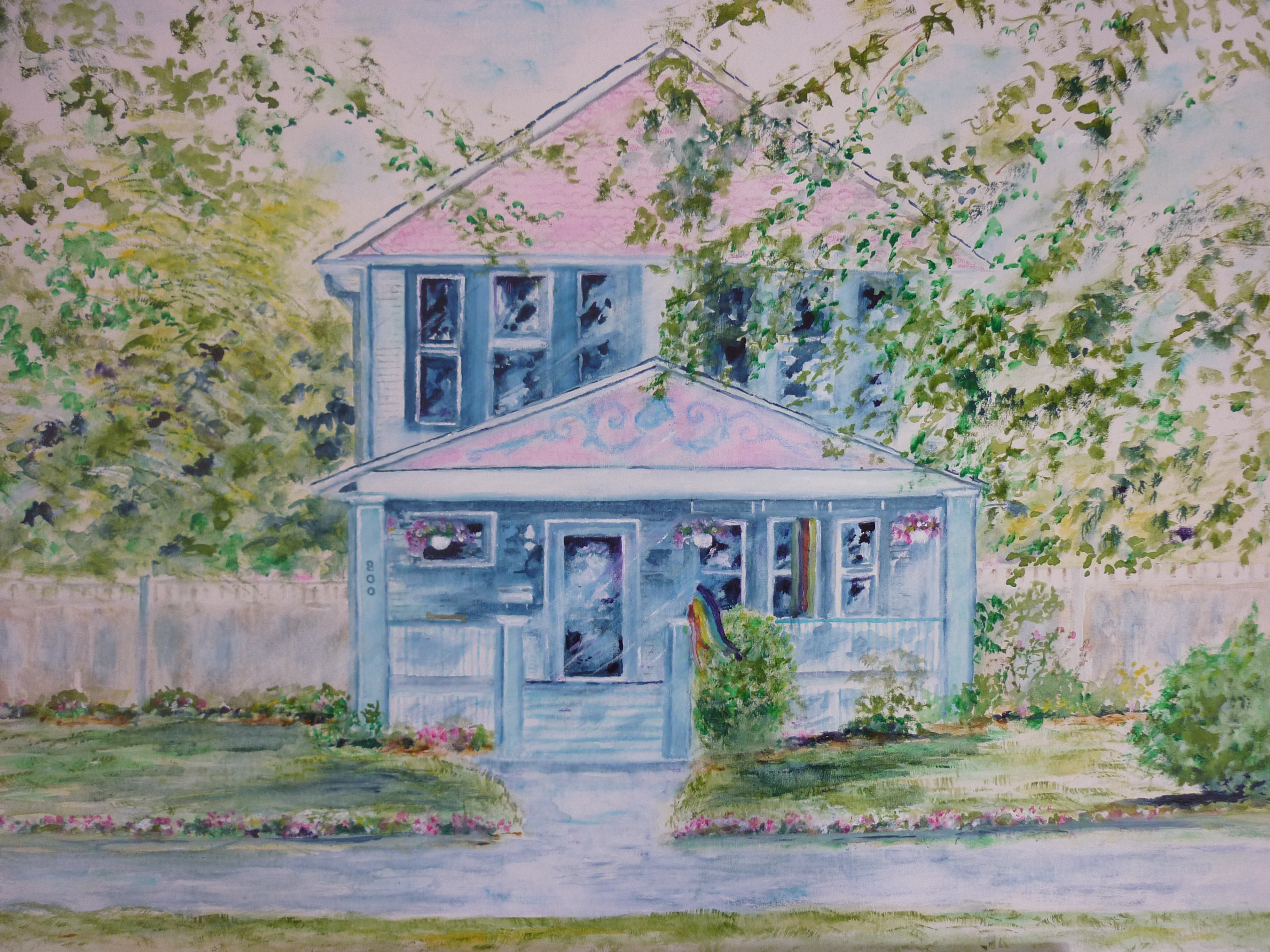 Theresa and Jane's House - Watercolor